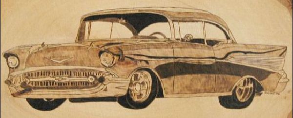 57 chevy woodburning project